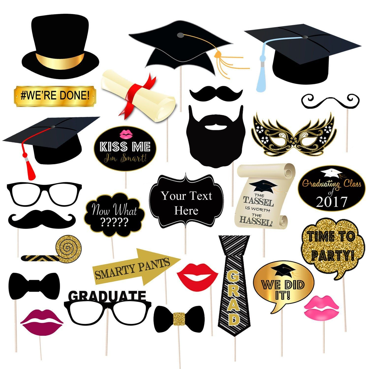 EDITABLE Graduation Party Props Printable Photo Booth
