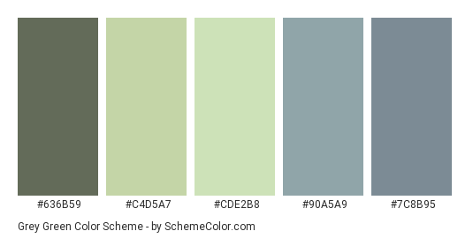 Download Grey Green Color Scheme Consisting Of 636b59 C4d5a7 Cde2b8 90a5a9 And 7c8b95 This 5 Colors Pa Green Color Schemes Green And Grey Green Colors