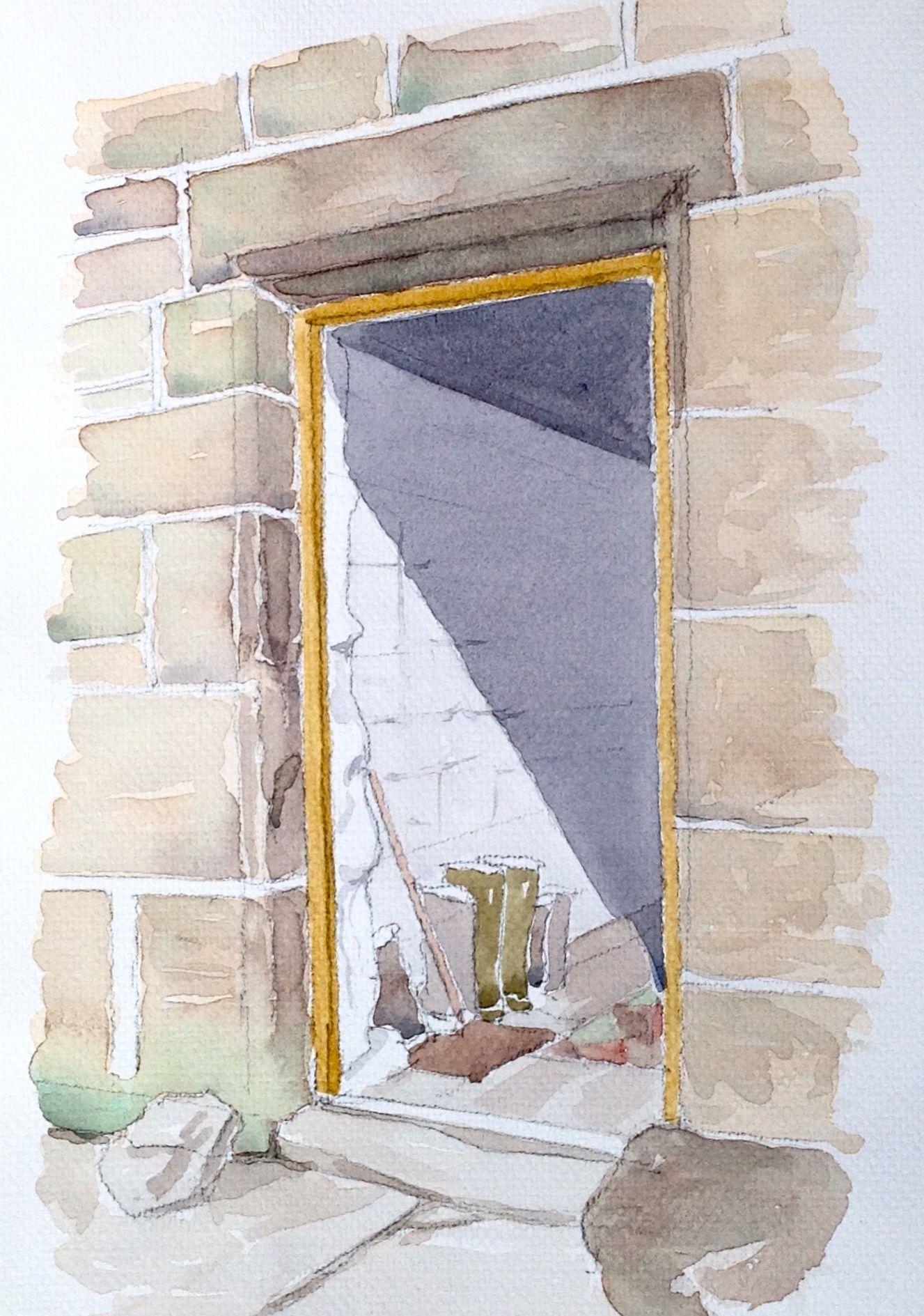 Farm House door sketch John Edwards Watercolor