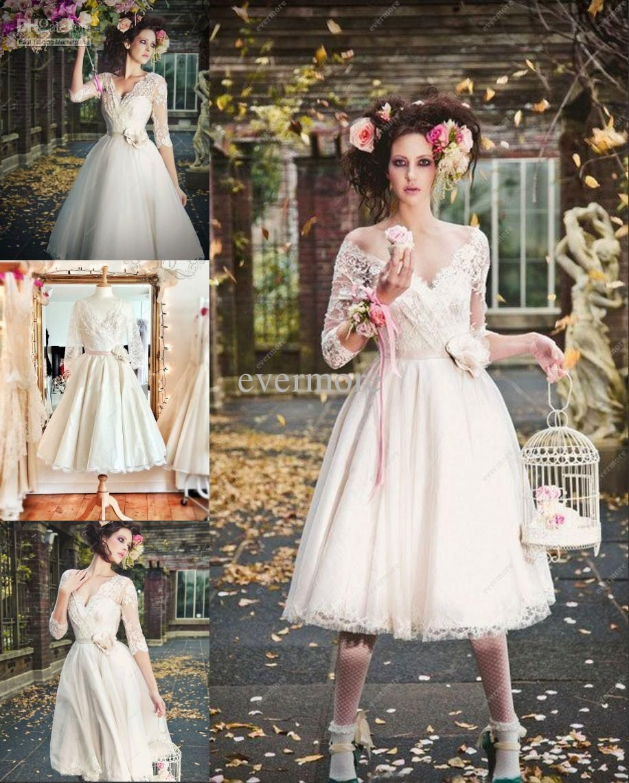 Wholesale Surper Stars Vneck Aline Tulle Lace Half Sleeves Tealength Short Wedding Dresses New Prom Free Shipping 799piece Dhgate: Edgy Tea Length Wedding Dresses At Reisefeber.org