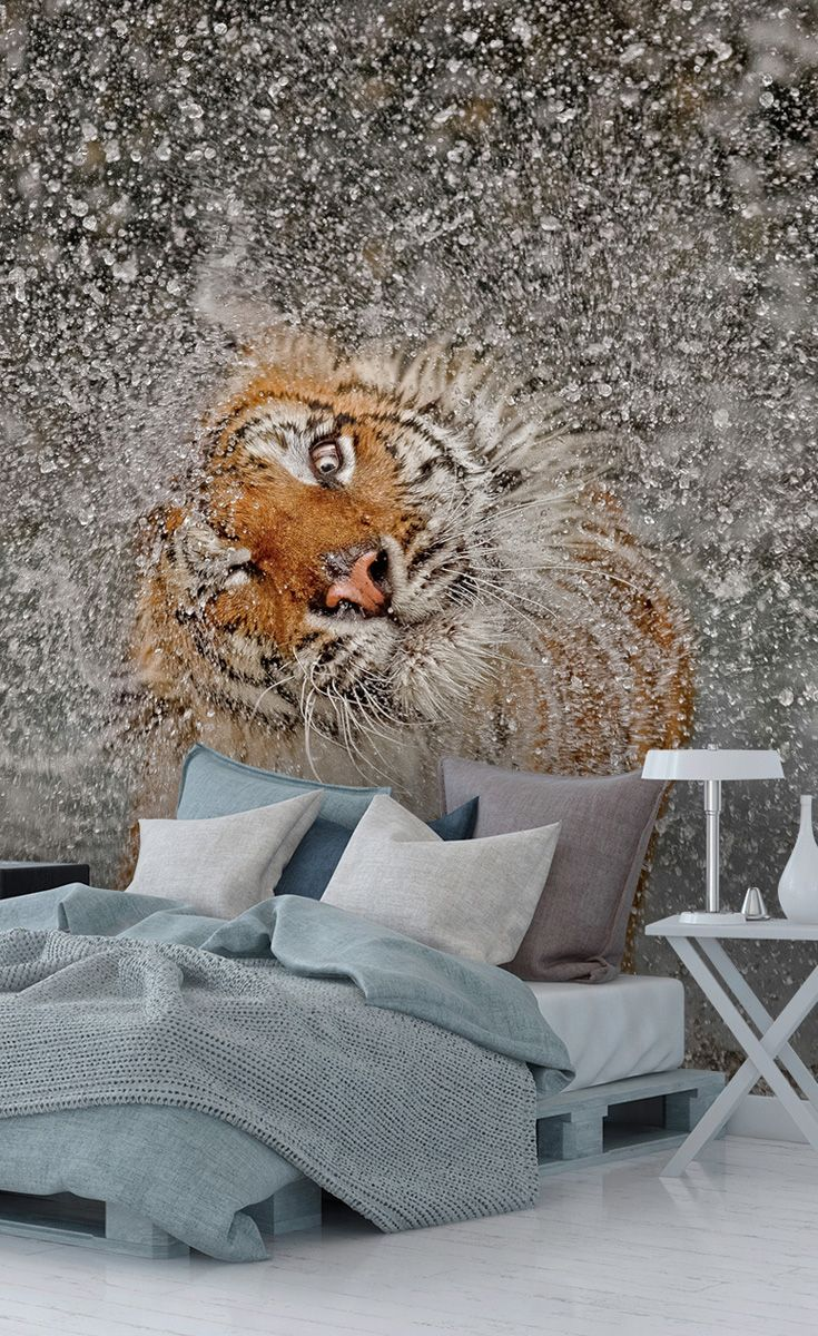 Create The Ultimate Feature Wall With This Striking Tiger Wallpaper Prices Shown Are Per Square Foot Fi Tiger Wallpaper Photography Wallpaper Mural Wallpaper