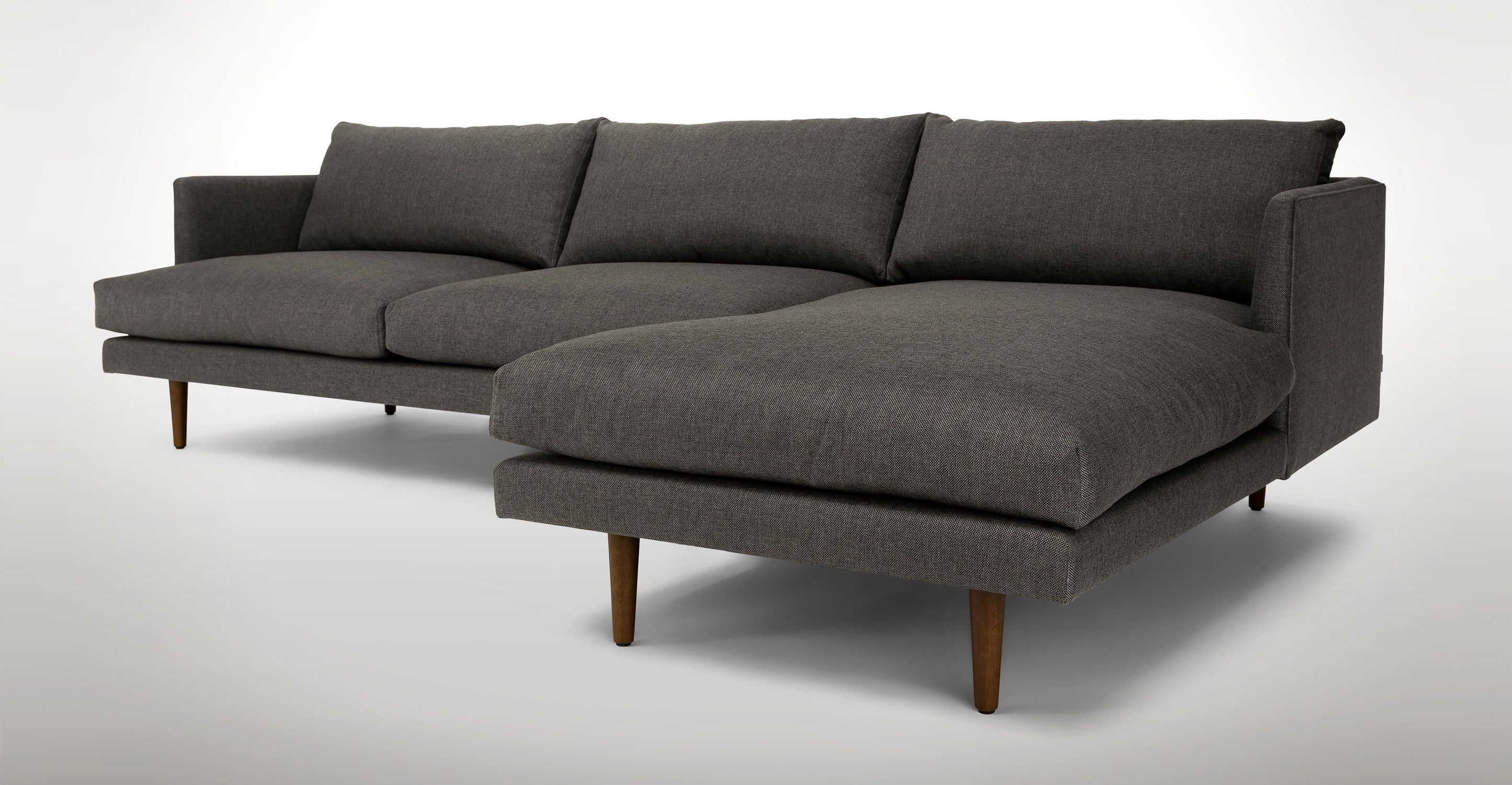 Dark Gray Right Sectional Sofa Upholstered