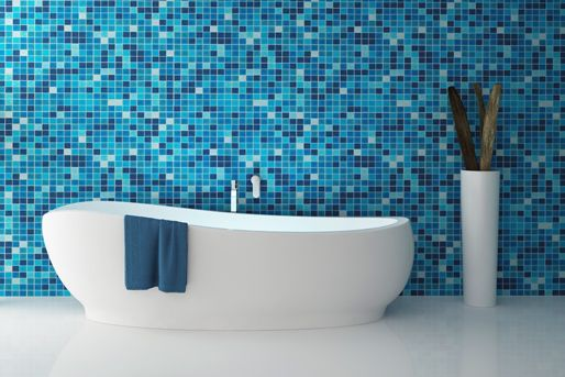 Blaue Fliesen im Bad | Tegels & betegelde kamers | Badezimmer blau ...