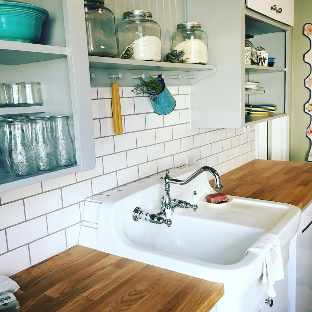 1950 Red Kitchen American Standard Vintage Farmhouse Sink White Subway Tile With Gray Grout Early Post War