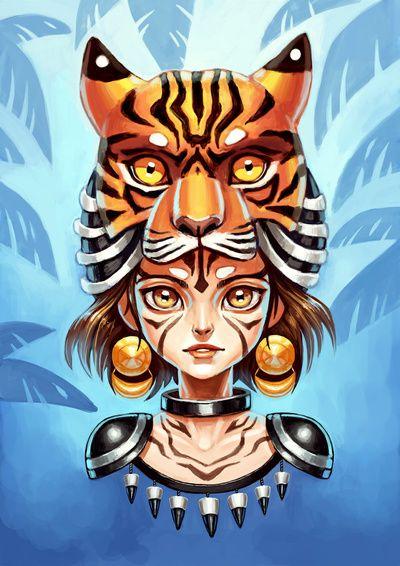 hat, tiger, head, girl