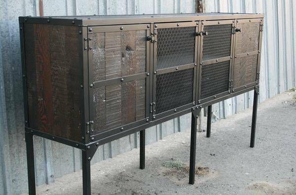 image 1   Rustic media console, Wood buffet