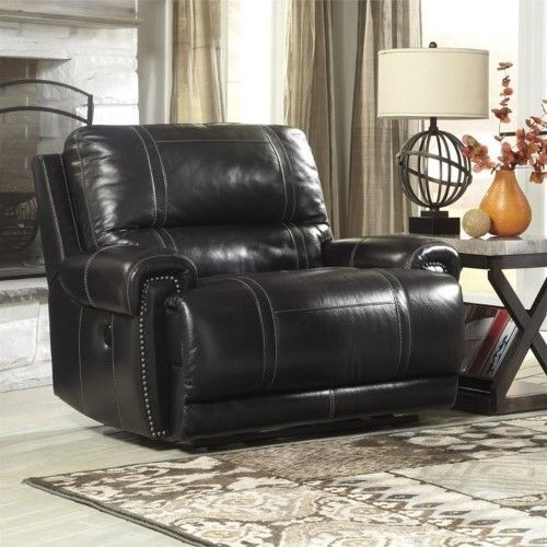 Ashley Paron Leather Zero Wall Wide Power Recliner In Antique, Brown