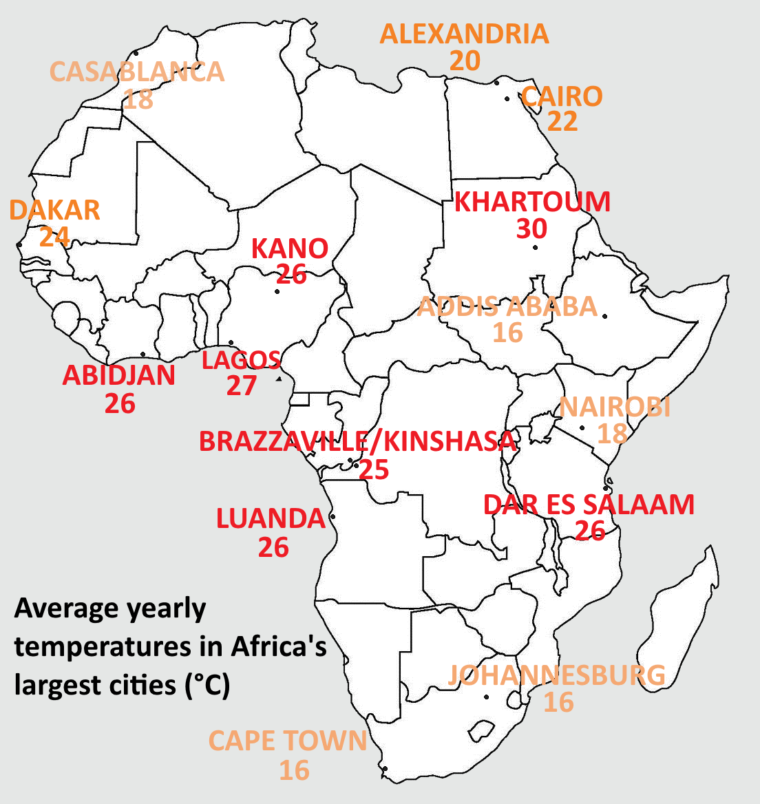 Average Yearly Temperatures In Africa S Largest Cities Africa Map Africa United Nations Peacekeeping