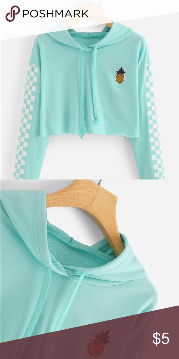 5dd6d9e3606 Pineapple Embroidered Gingham Crop Top Hoodie It was never worn ROMWE Tops  Crop Tops
