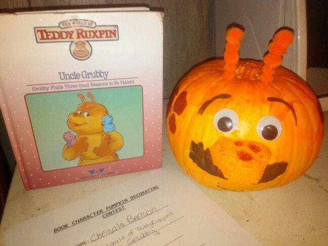 """""""Grubby"""" book character pumpkin."""