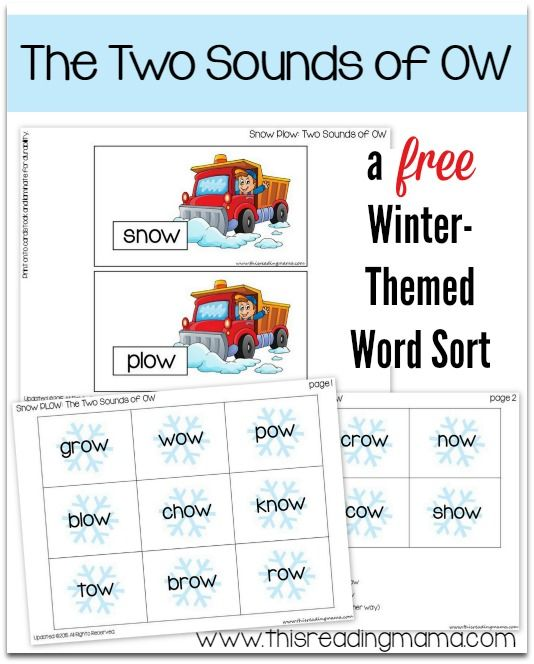 Free SnowThemed Word Sort The Two Sounds Of Ow  Snow Plow Snow