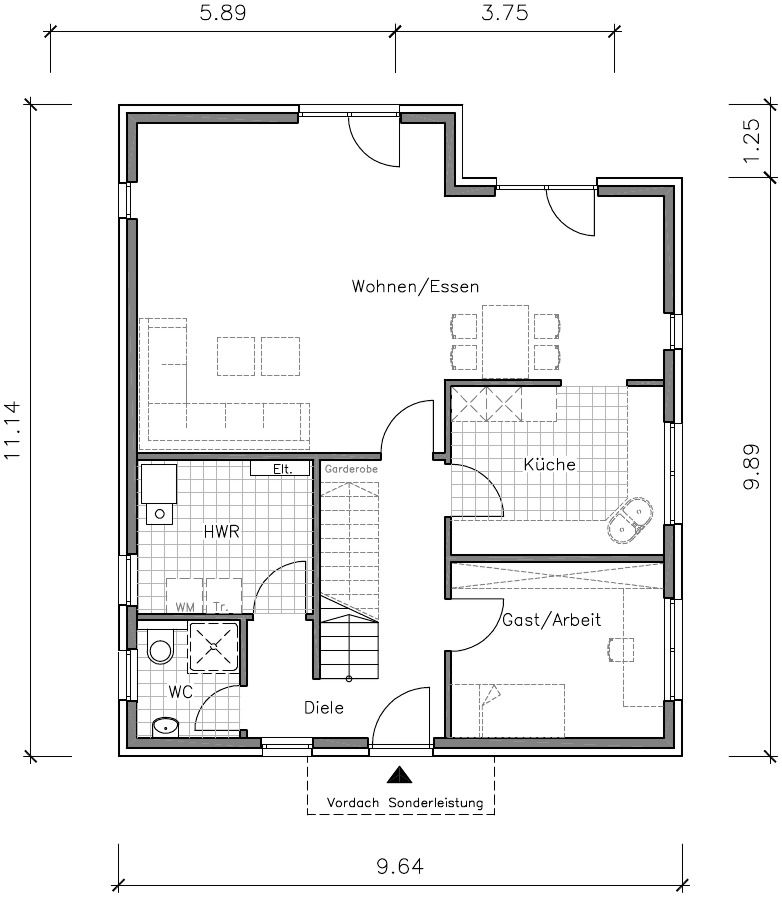 Flachdachhaus Grundriss Erdgeschoss Grundrisse Pinterest