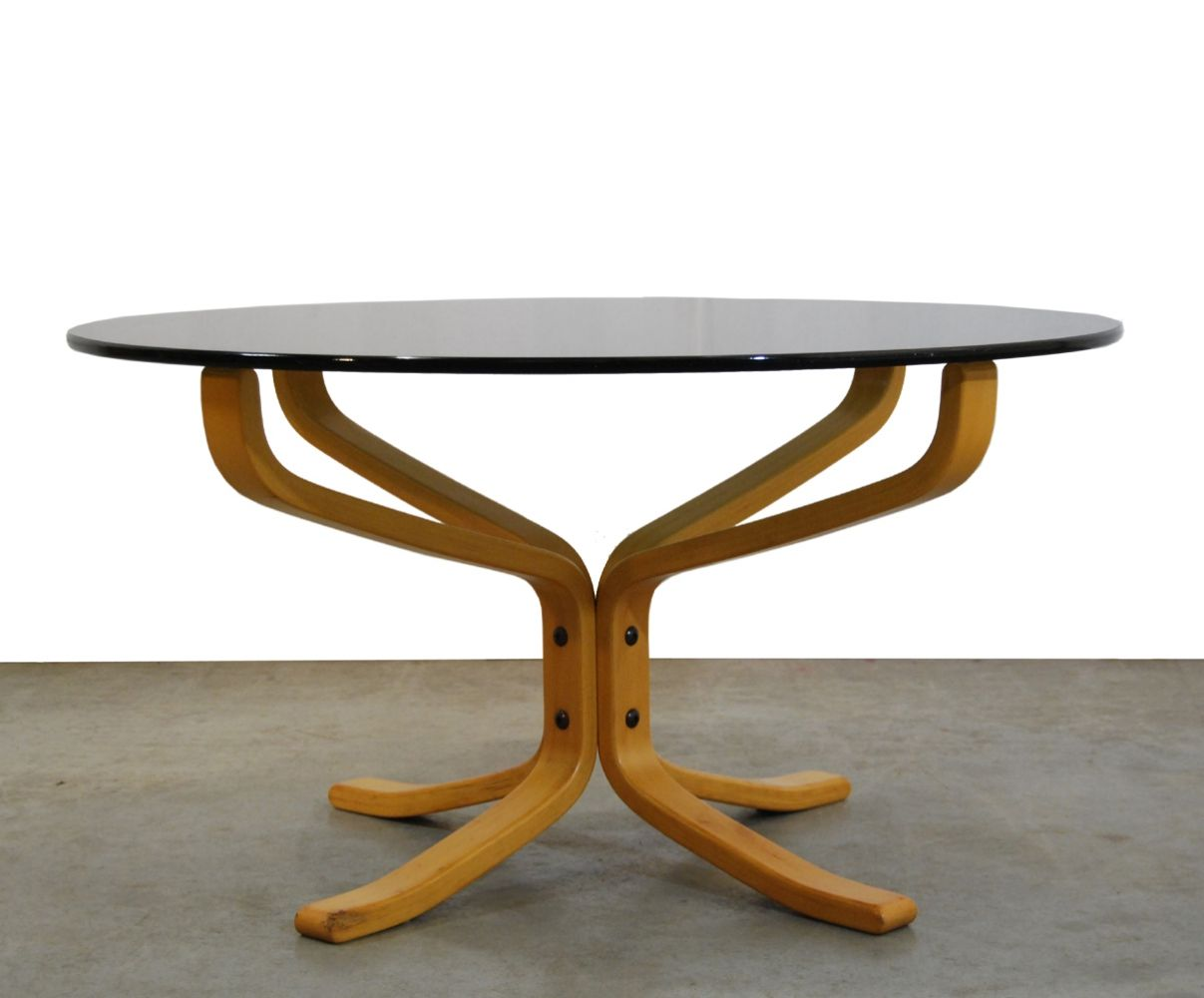 For sale smoked glass falcon coffee table by sigurd