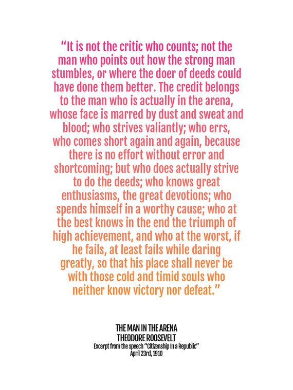 Graduation Gift Print Man In The Arena Quote Poster Teddy Roosevelt Inspirational Art Motivational Saying Wall Art Quote College Decor Quote Posters Inspirational Speeches Quotes