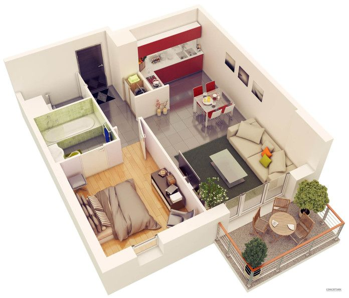 Low Price Studio Apartments: Plans-coupes-3d-ornex_02