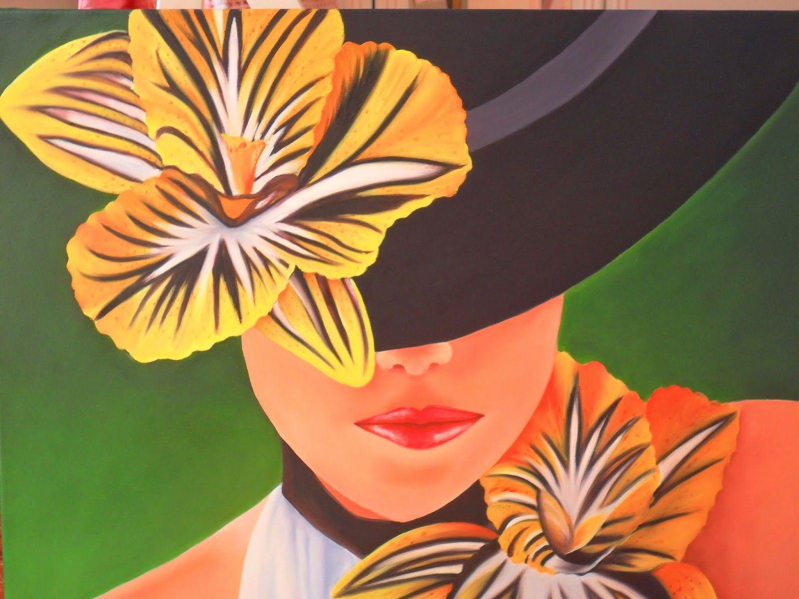 Imagenes Flores Caricatura Buscar Con Google: Cuadros Al Oleo De Mujeres Con Sombrero