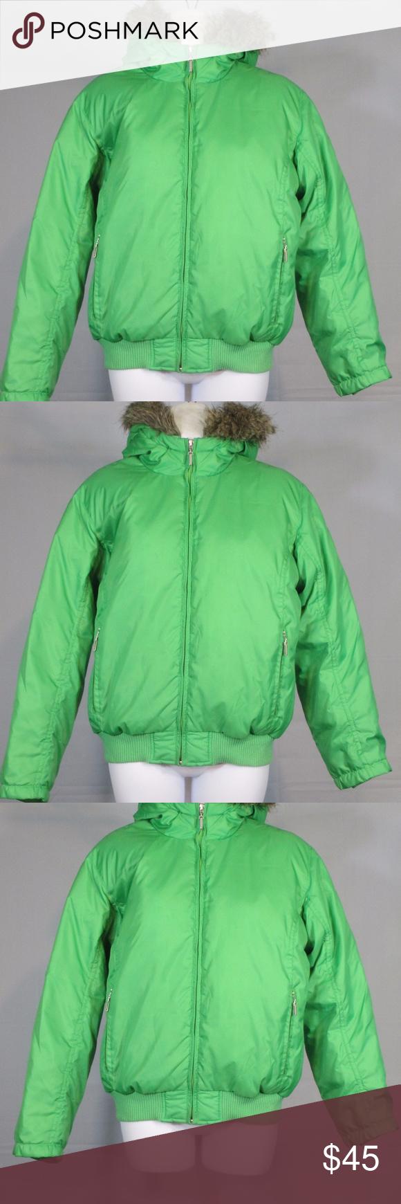 Green down puffer coat w/ fur trimmed hood size M Item