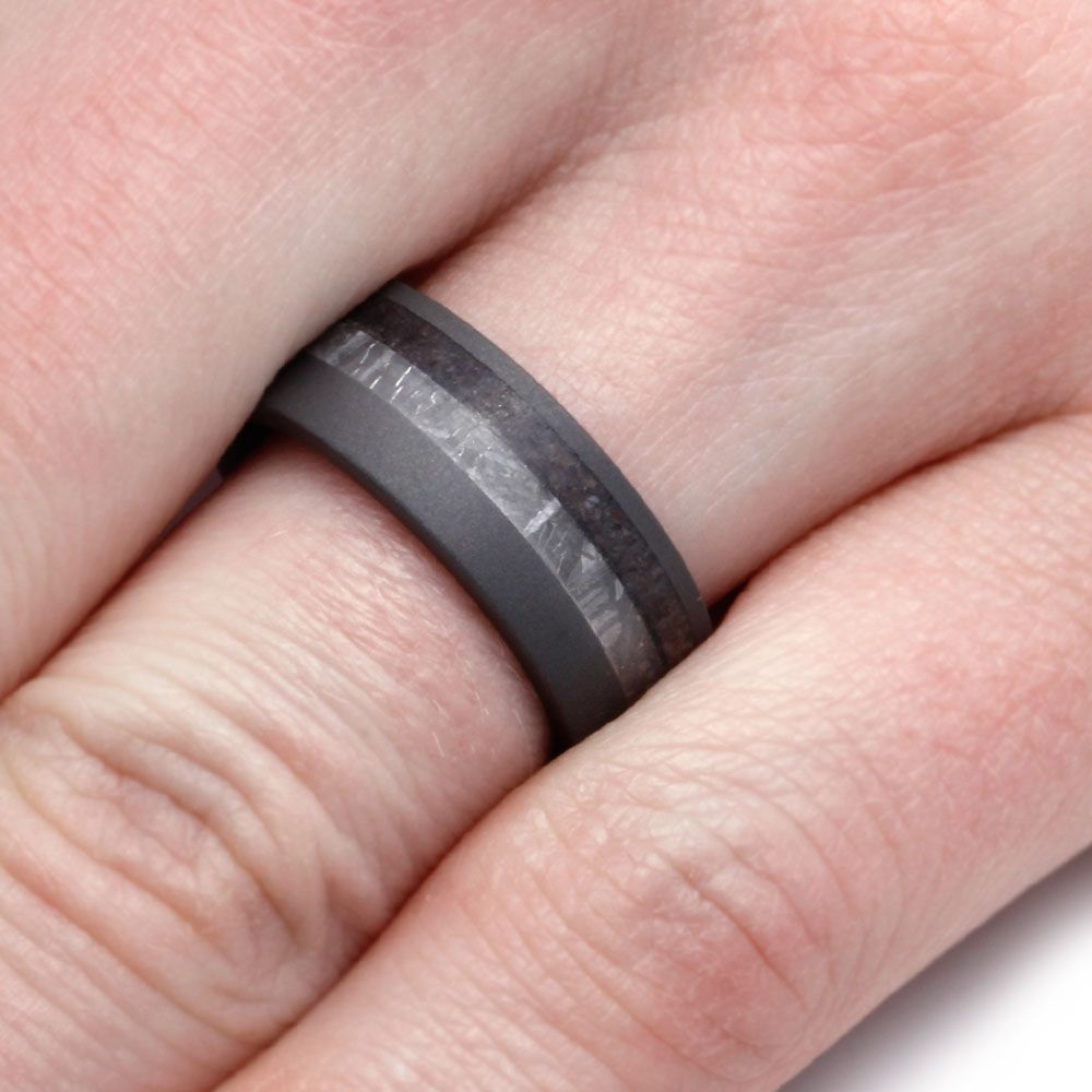 Sandblasted Titanium Ring With Meteorite And Dinosaur Bone-3108 ...