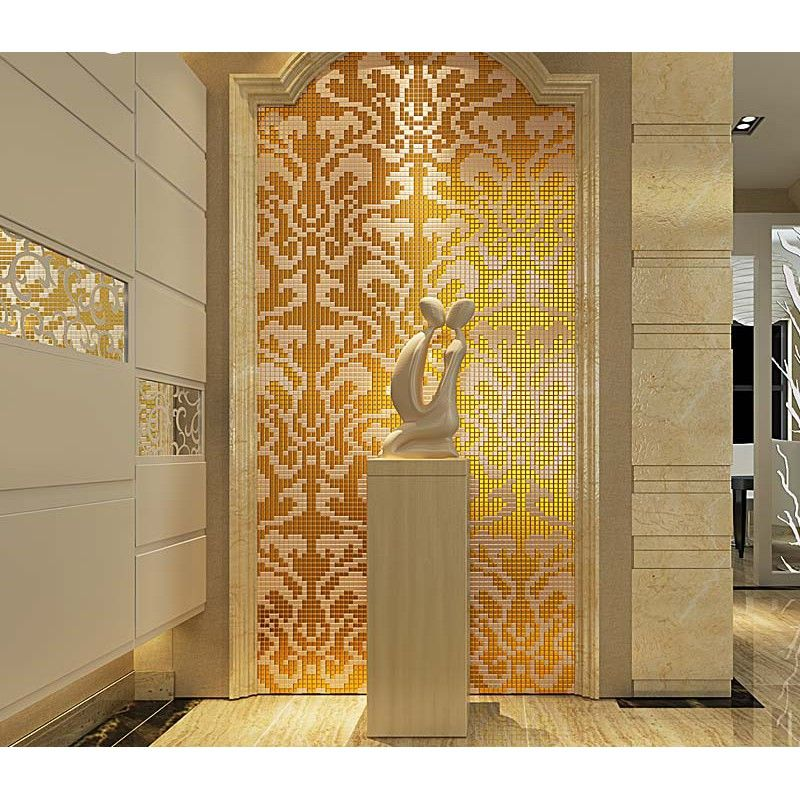 gold and cream mirrored glass mosaic tile murals frosted crystal rh pinterest com