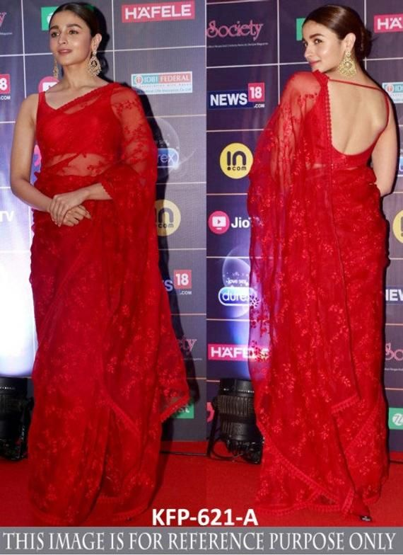 Embroidered red net saree party wear designer late