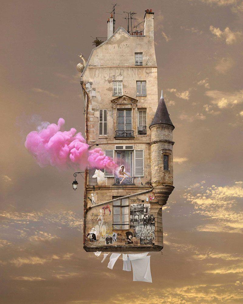 Flying Houses: le case volanti surreali di Laurent Chéhère   Surreal ...