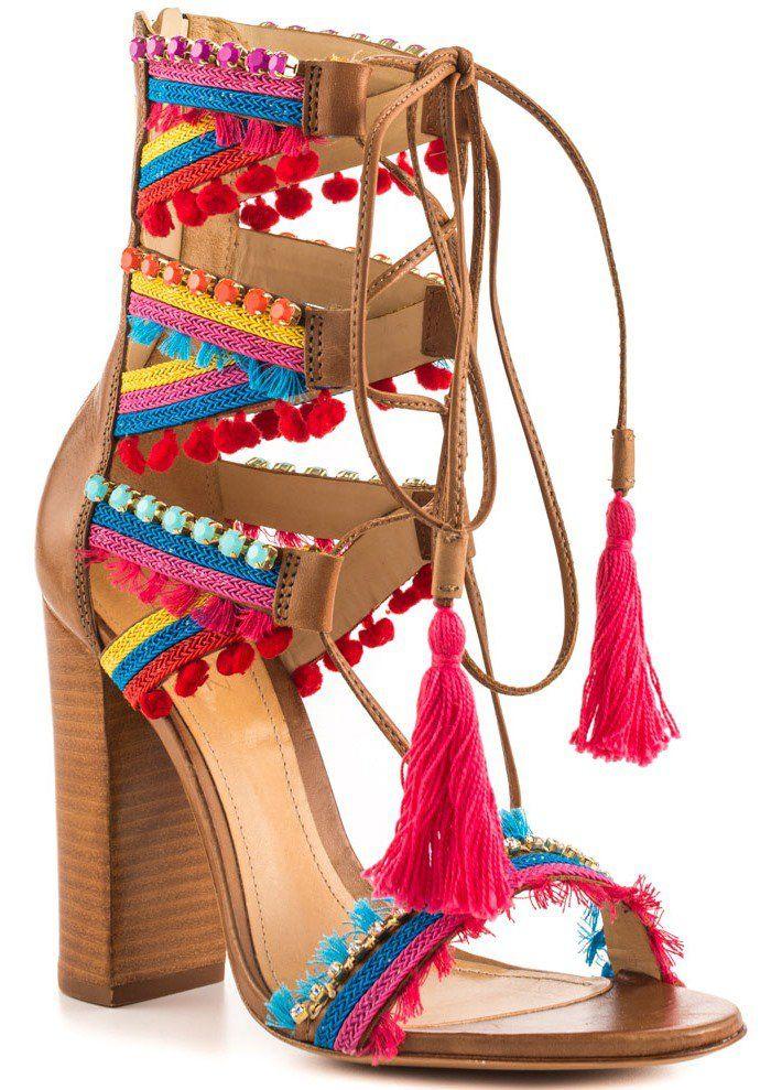 3dbea95dbe3 Schutz Calla Jeweled Leather Lace-Up Block-Heel Sandals