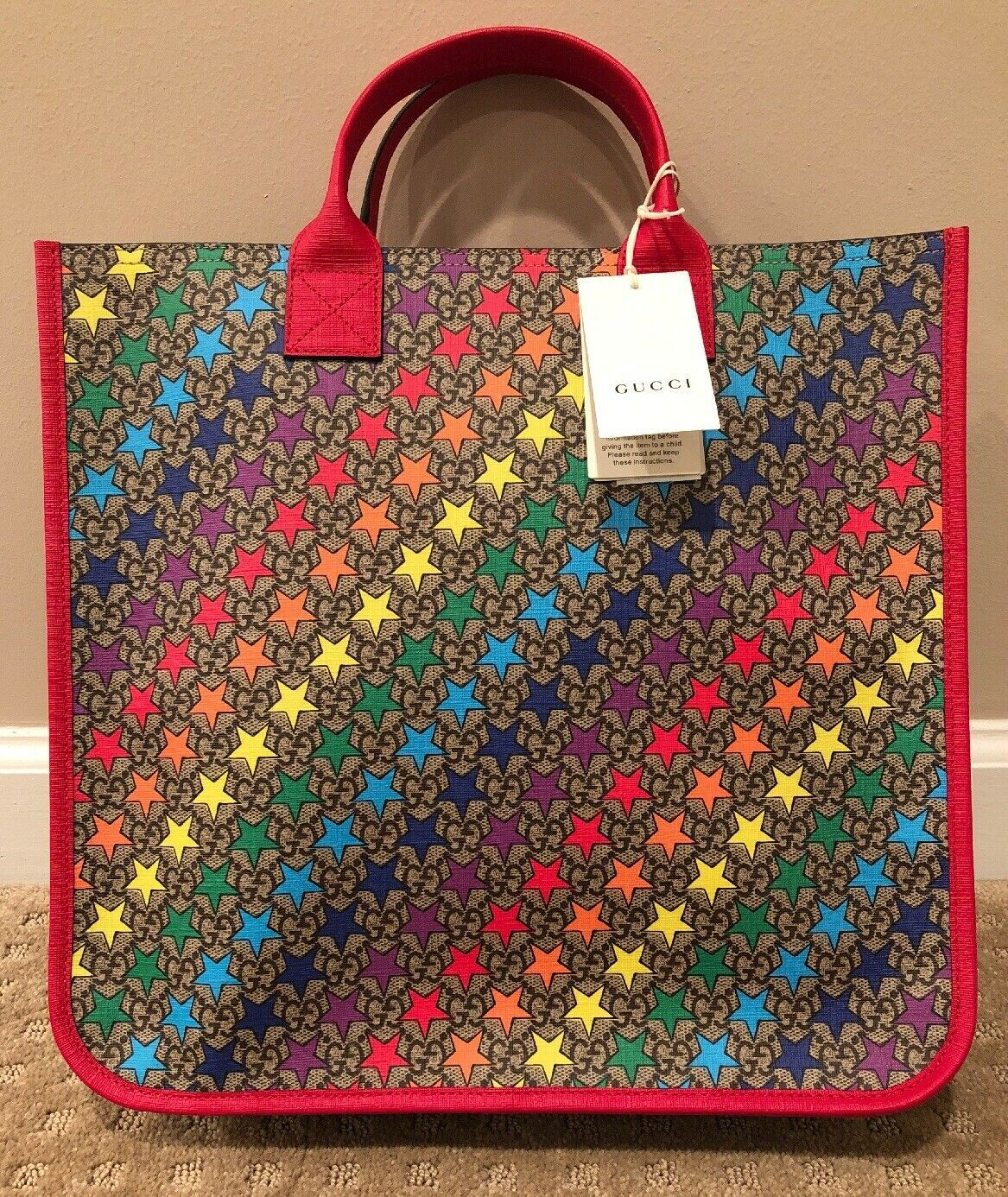 38a8d3667e7f New with Tags Authentic Gucci GG Supreme Rainbow Mini Star Tote ...