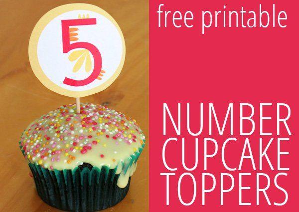 Printable Cupcake Toppers Birthday Numbers 1 5