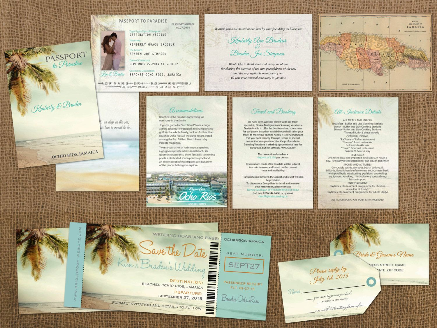 cruise wedding save the date announcement%0A Vintage Passports Boarding Pass Palm Tree Destination Set  Wedding Passport  Invitations  Save the Date Boarding Passes  Luggage Tag Reply