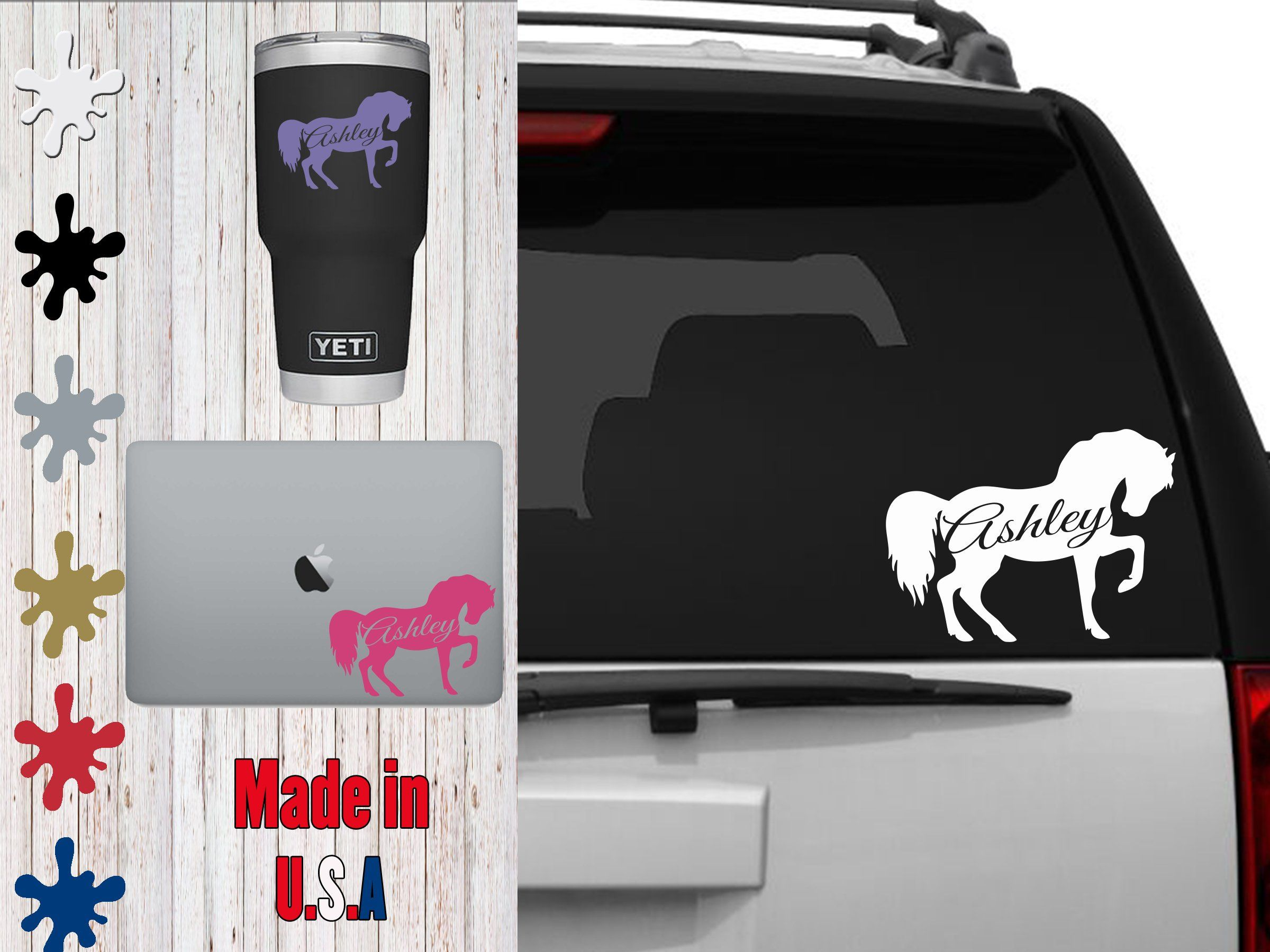 Custom Horse Pony Personalized Decal Choose Your Size Car Decal Laptop Decal Mug Decal Tumbler Decal Family Car Stickers Phone Decals Personalized Decals [ 1800 x 2400 Pixel ]
