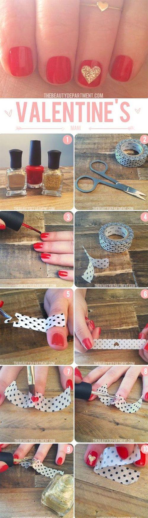15 Schritt für Schritt Valentinstag Nagel Kunst Tutorials Für ...