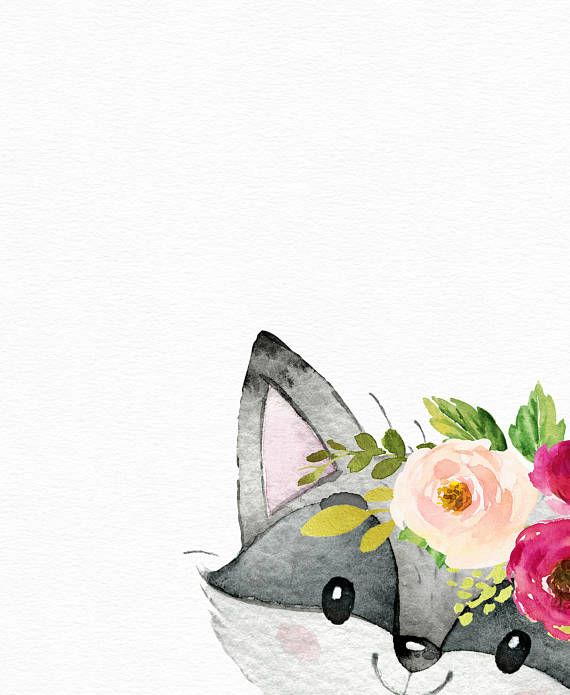 Raccoon art - Watercolor baby animals - Boho nursery - nursery prints - nursery animals-  Floral ani