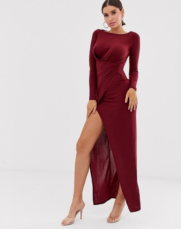 Club L London Bordowa Sukienka Maxi S Pr Xdc 8793000086 Oficjalne Archiwum Allegro Maxi Dress High Neck Dress Shoulder Dress