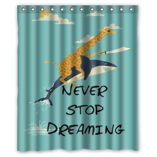 New Beth Curtain Giraffe Never Stop Dreaming Custom Shower Curtain 60 x 72Inches #Diycustom #Nautical
