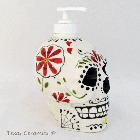 Day Of The Dead Sugar Skull Ceramic Skull Dispenser For Soap Dia