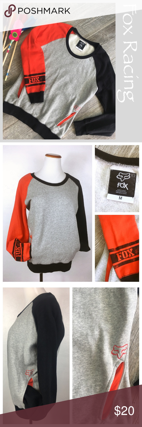 """Fox Racing pullover sweatshirt. FOX Racing pullover sweatshirt. Sleeves are 2 different colors, 2 front pocket details. Small manufacturers defect in stitching near shoulder see pic. Size medium. Preowned but never worn. Measurements: Bust 19.5 """" Shoulder to bottom hem 26"""".   Bundle in my closet and save. I ship same day or next day almost always! No trades. Suggested user and top-rated seller! Thank you for checking out my closet. Fox Tops Sweatshirts & Hoodies"""