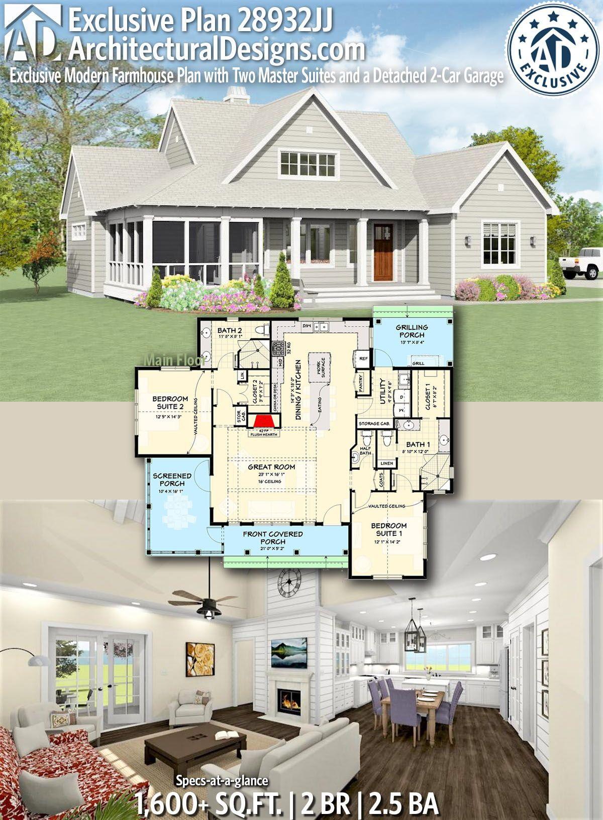 plan 28932jj exclusive modern farmhouse plan with two master suites rh pinterest com