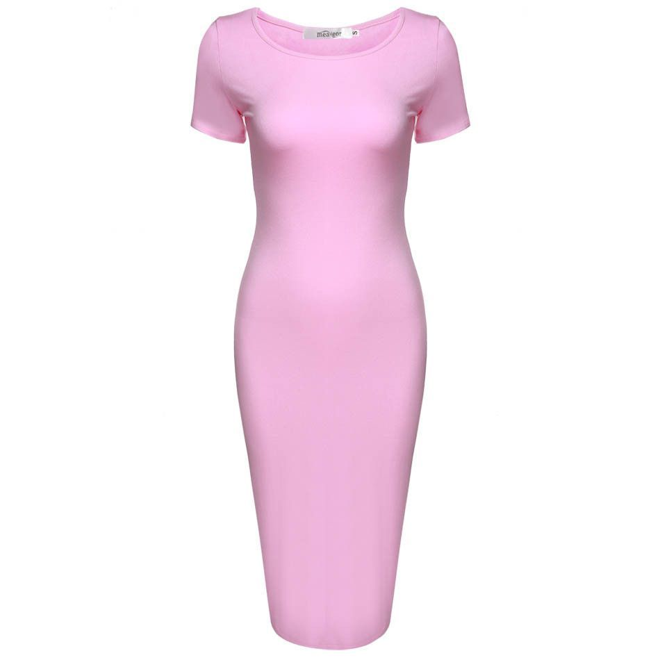 Dress Women Casual pencil Dress Solid Elegant Body con Woman Midi Dress
