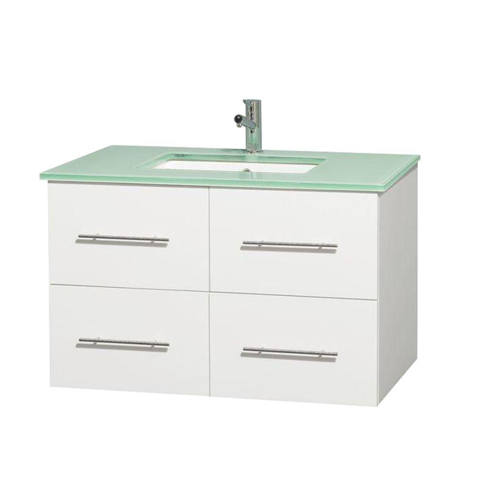 wyndham collection centra 36 in vanity in white with glass vanity rh pinterest com au