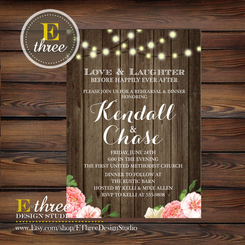 happily ever after wedding invitations%0A Rustic Rehearsal Dinner Invitation Wood by EThreeDesignStudio