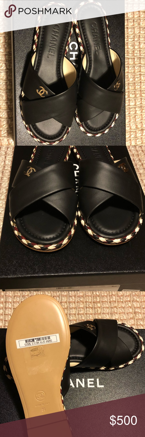 5c989625bc570 Chanel spa mule slides Black Chanel sandals, with burgundy, gold and cream  braided edge