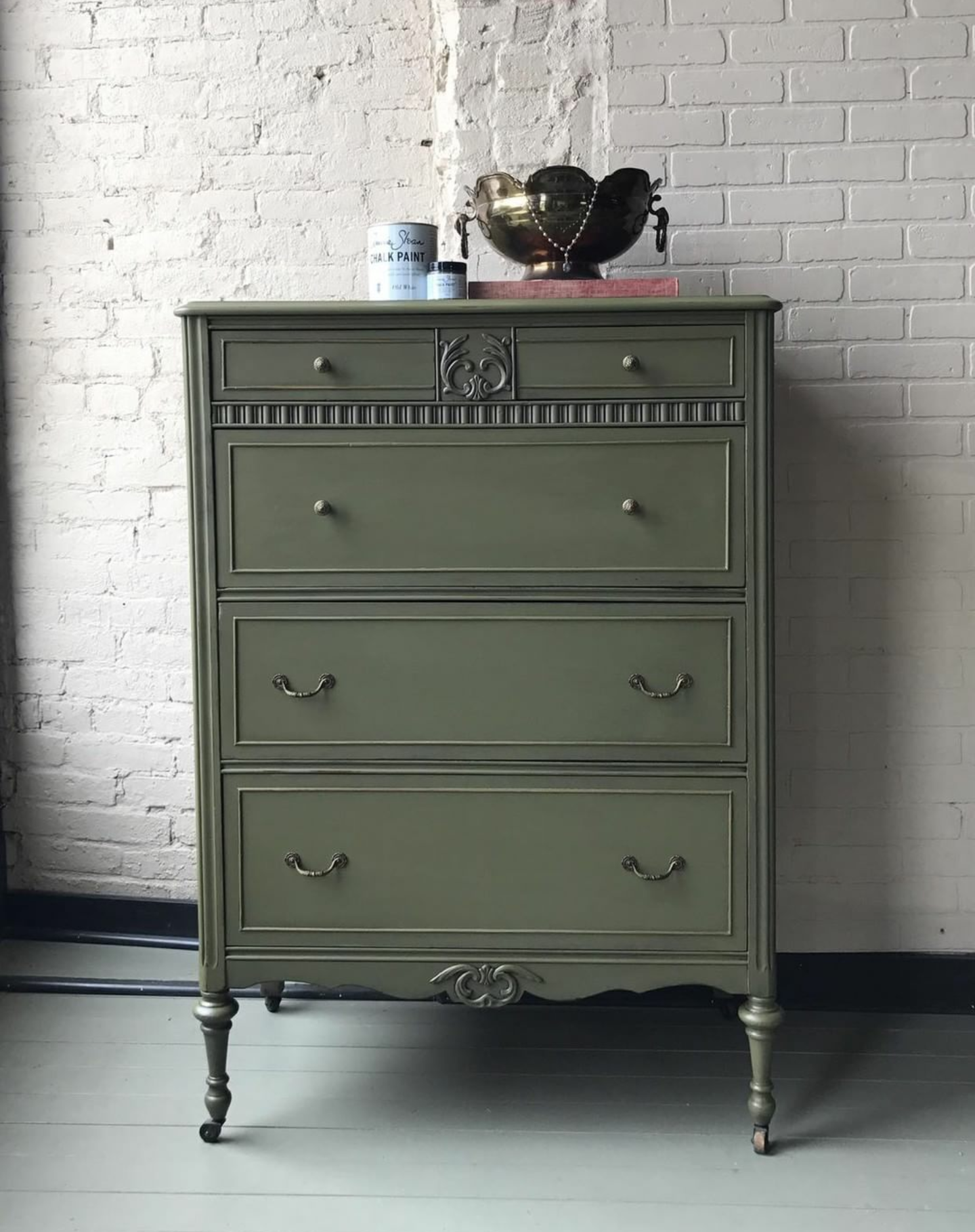 rich and classic dresser painted with chalk paint in olive and rh pinterest com