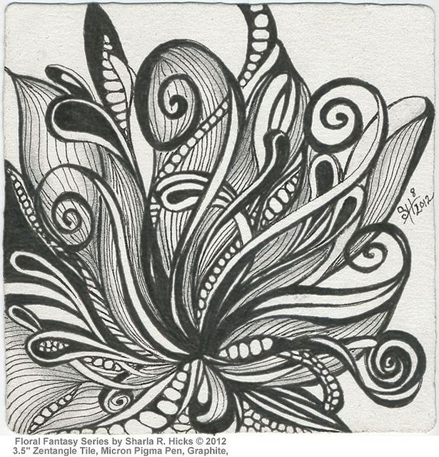 """Fantasy Floral Series 1 by Sharla R. Hicks © 2012, Micron Pigma Pen, Graphite and 3.5"""" Zentangle Tile, via Flickr"""