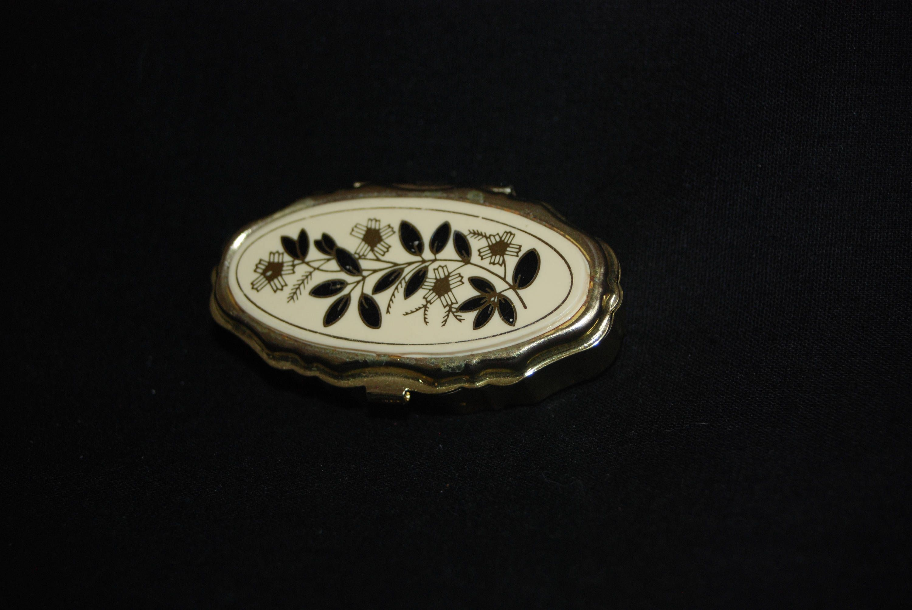 Flowers pill box vintage collectible flower engraved gold colored