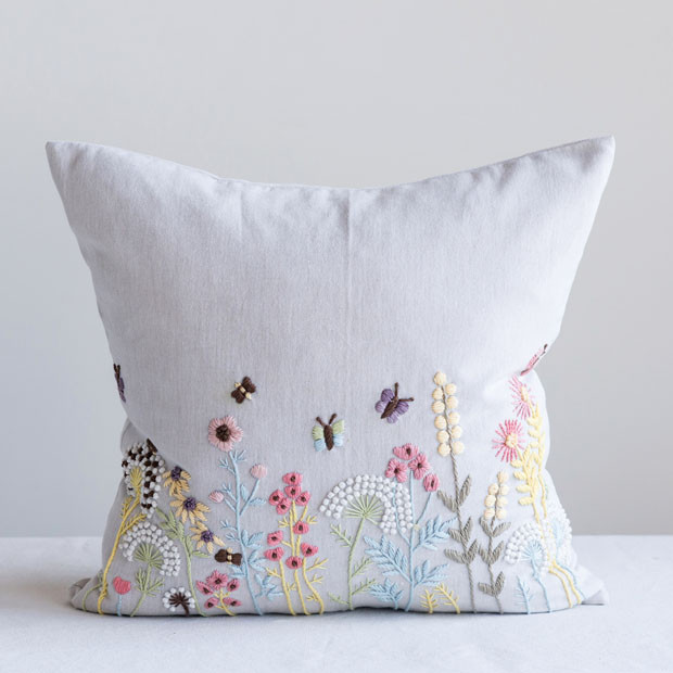 Floral Embroidered Throw Pillow Embroidered Throw Pillows Floral Throw Pillows Throw Pillows