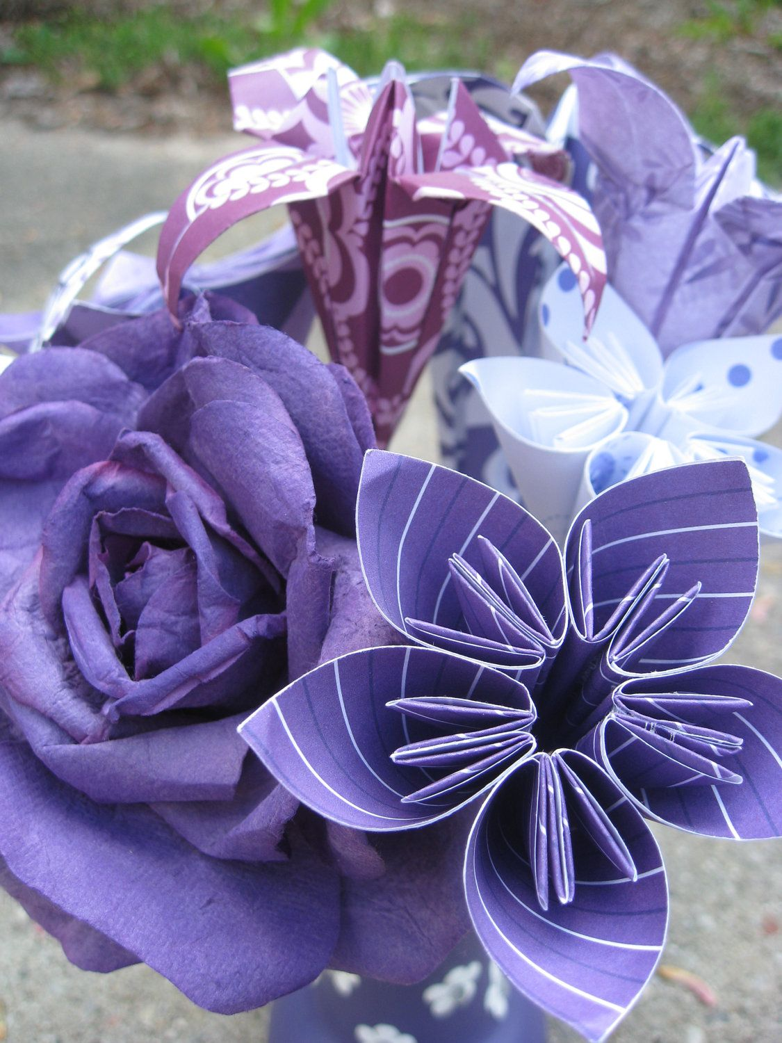 Purple Paper Flower Bouquet Perfect For Motherus by TreeTownPaper