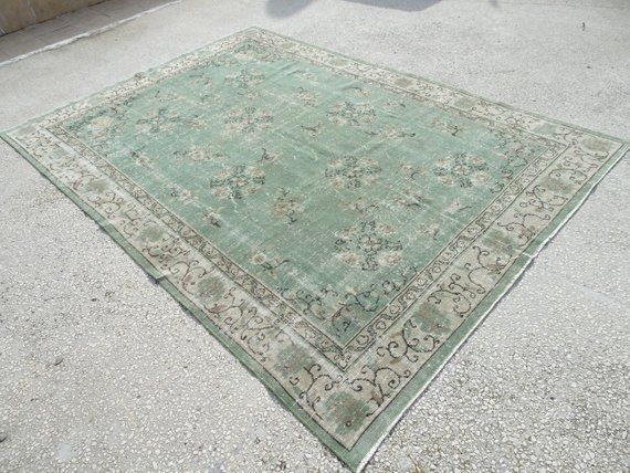 Light Green Oushak Rug 6 10 X9 10 Feet 210x301 Cm Vintage Home Floor Decor Short Pile Turkish Carpe Rugs On Carpet Area Carpet Carpets Area Rugs