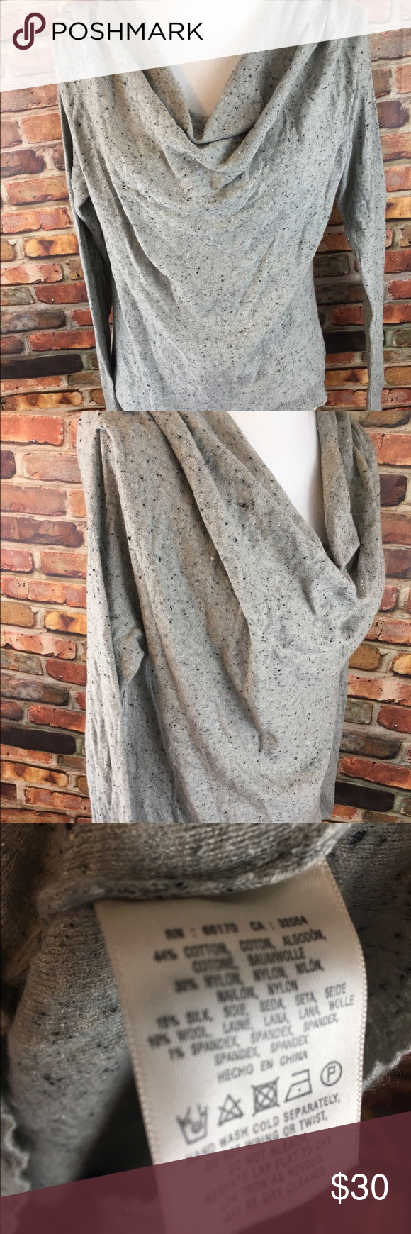 Anthropologie MOTH wool silk cowl neck sweater Armpit to armpit ...