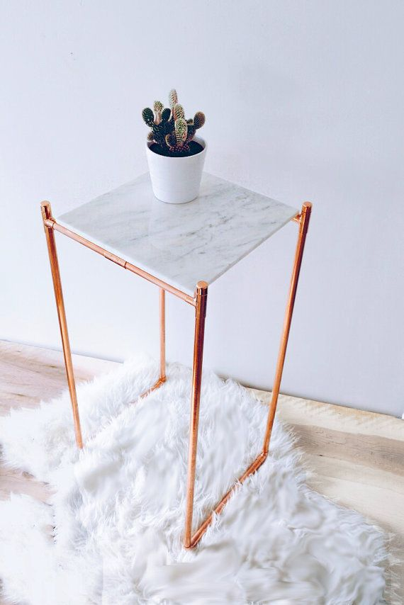 Marble and Copper Side Table End Table
