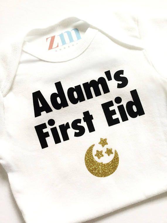 01cd17f943 My First 1st Eid personalized bodysuit T-shirt, Eid Mubarak, Eidi ...